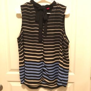 ELLE Sleeveless Blouse with Tie Size Large